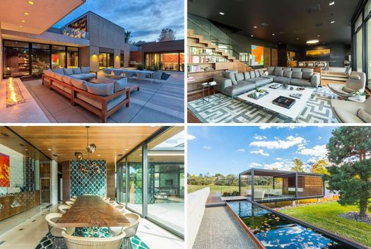 This contemporary home in Colorado, has multiple indoor and outdoor living spaces as well as plenty of green space and a pool.