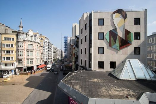 Artist Stefaan De Crook (also known as Strook), has created a large recycled wood mural on the side of a building in Ostend, a coastal city in Belgium.