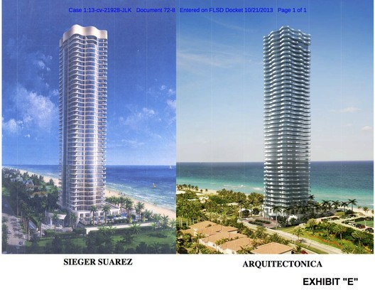 Evidence from the case, comparing the two proposed towers in Miami. Image © U.S. District Court for the Southern District of Florida, Miami Division