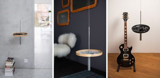 Design studio PIKKA have created a collection of modern wood side tables (or shelves), that hang down from the ceiling.